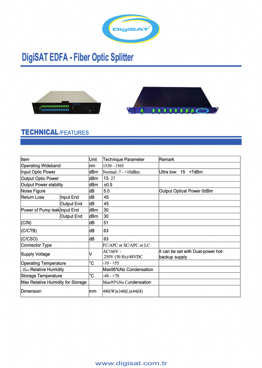 DigiSAT EDFA , Otic Splitter - Digisat Network | 0(212) 486 35 88
